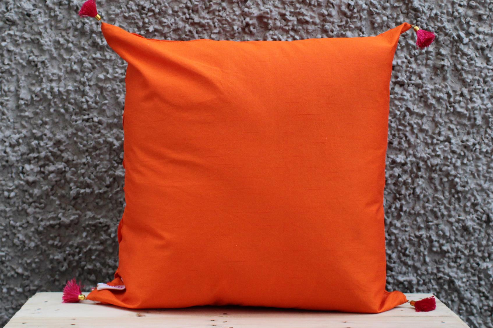 Orange Pleated Cushion Cover