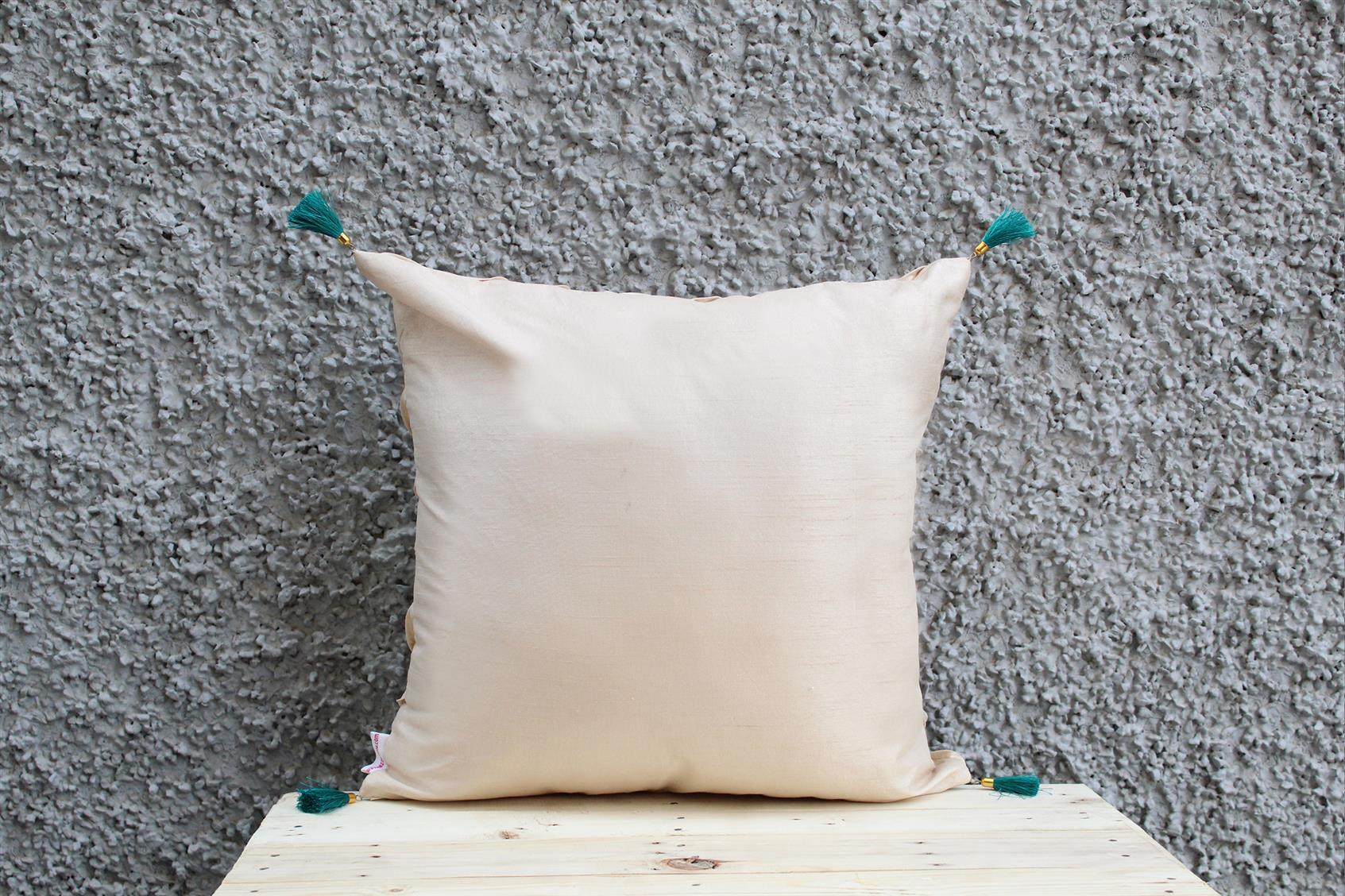 Cream Pleated Cushion Cover
