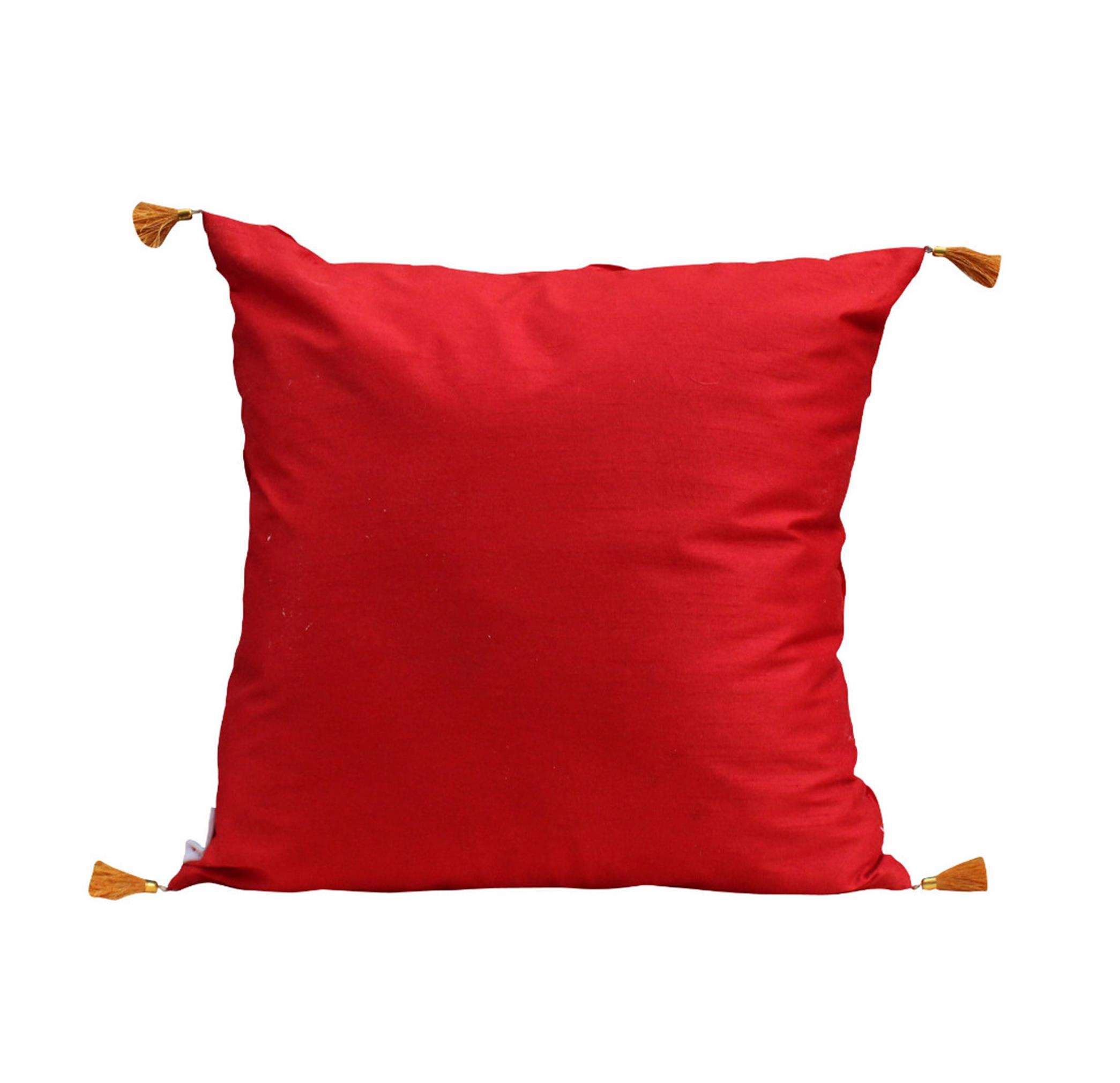 Red Pleated Cushion Cover