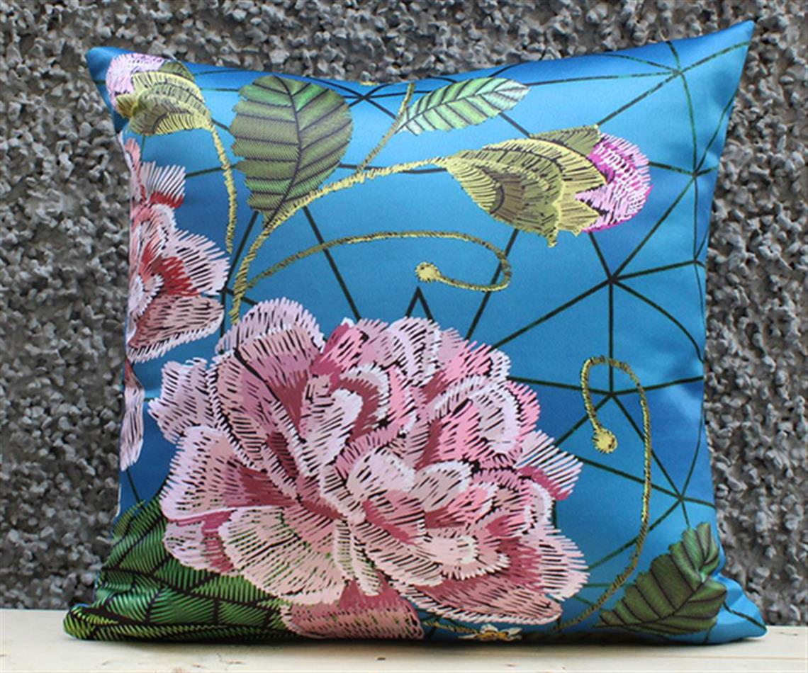 Blue Peony Cushion Cover