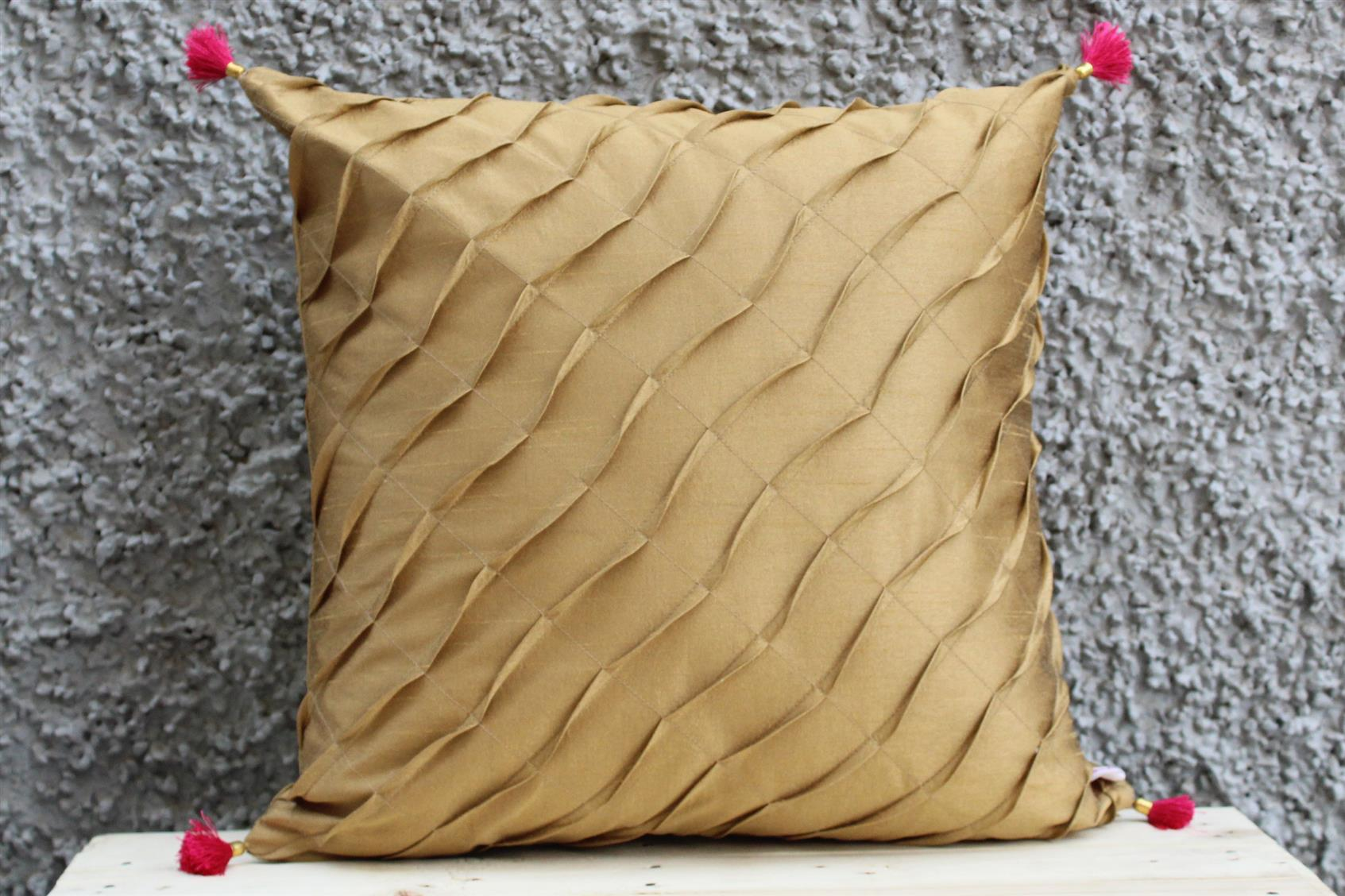 Caramel Pleated Cushion Cover