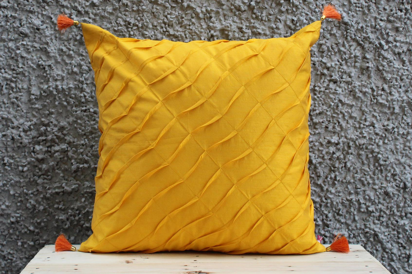 Yellow Pleated Cushion Cover