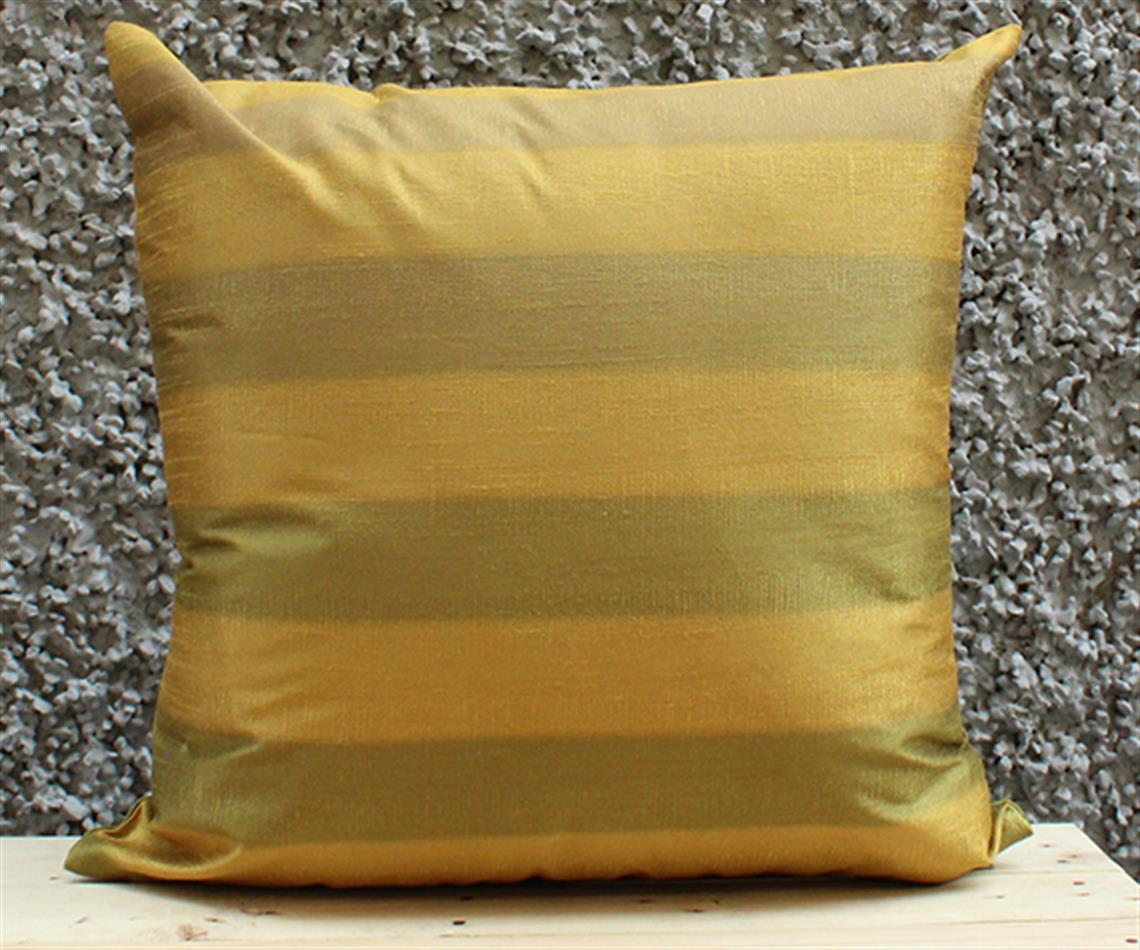 Olive and Gold Stripe Cushion Cover
