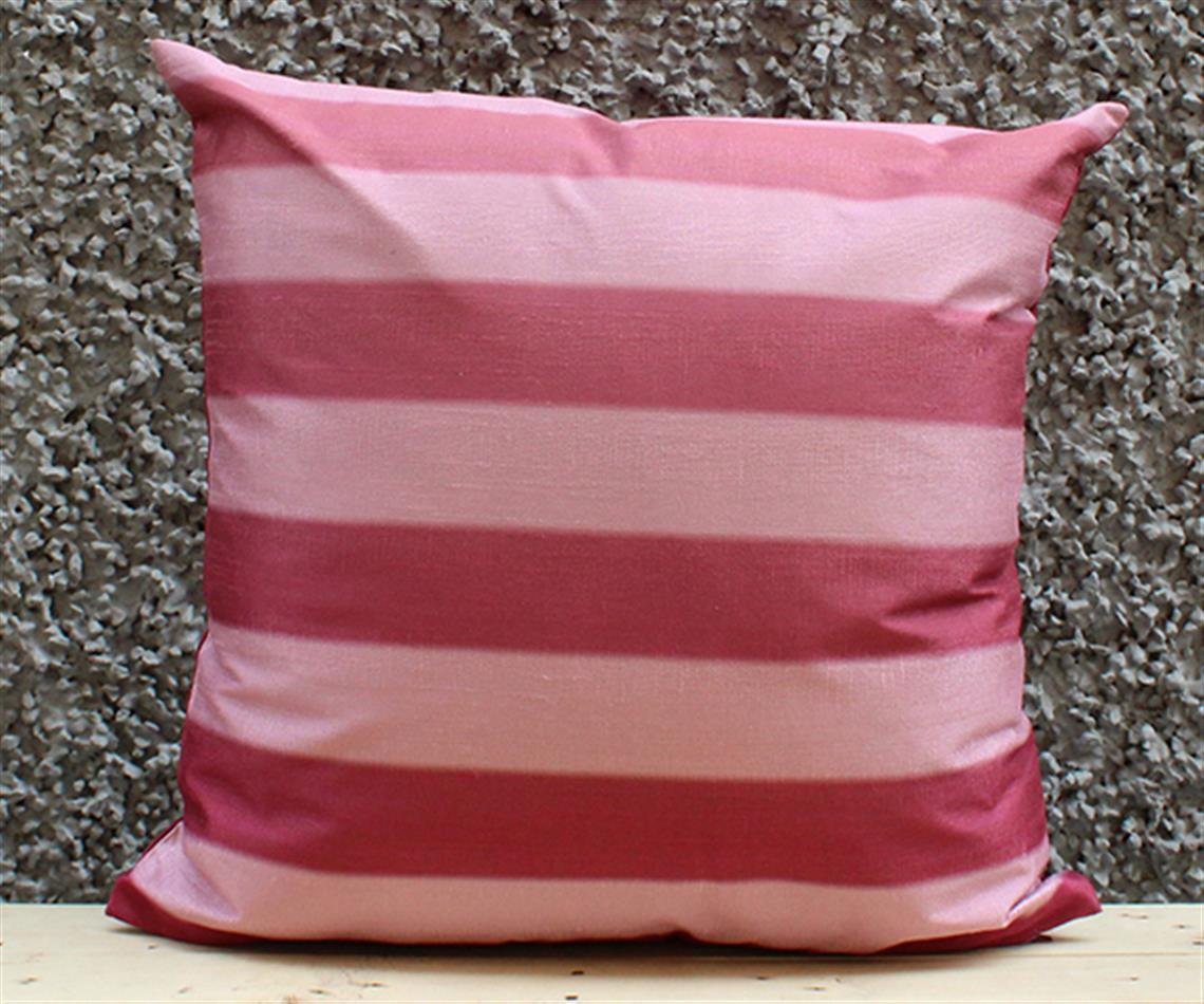 Burgandy and Rose Stripe Cushion Cover
