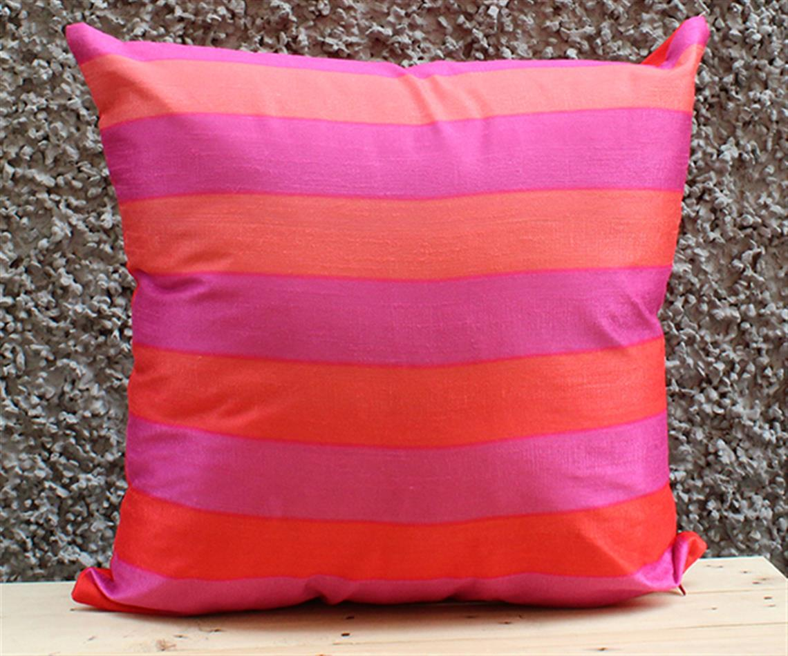 Pink and Red Stripe Cushion Cover