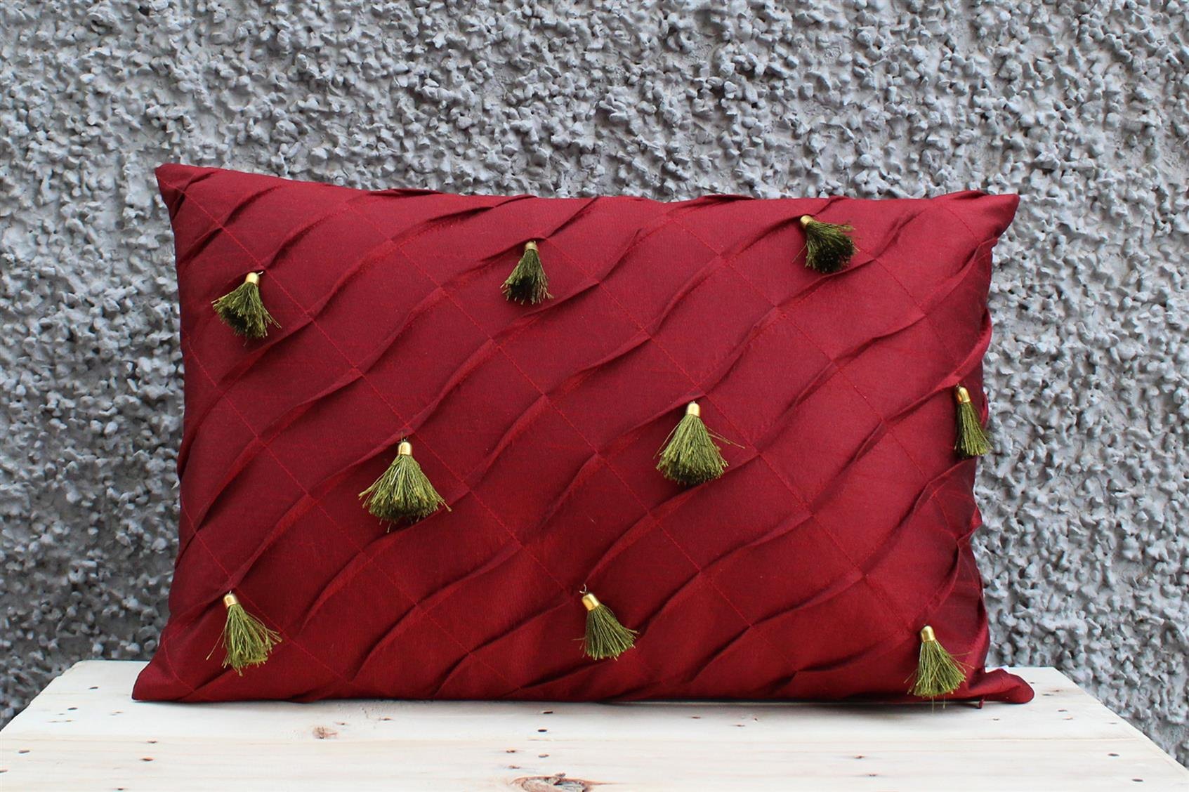 Maroon Tassel Cushion Cover