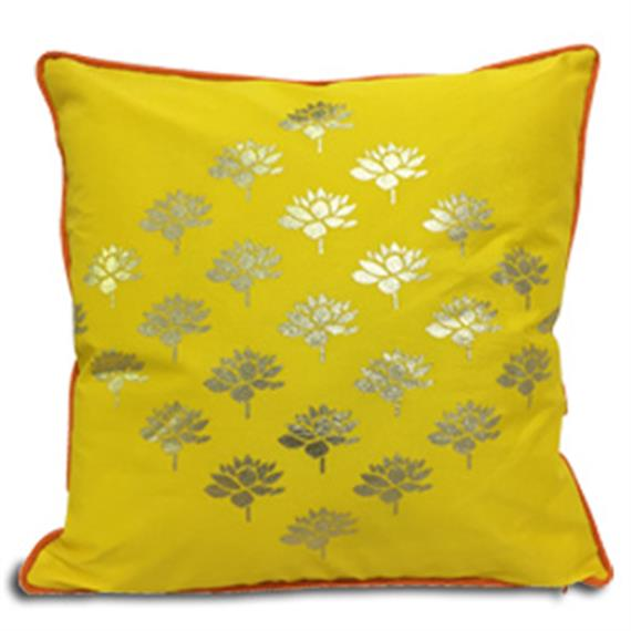 Double Sided Yellow Gold Multi Lotus Cushion Cover