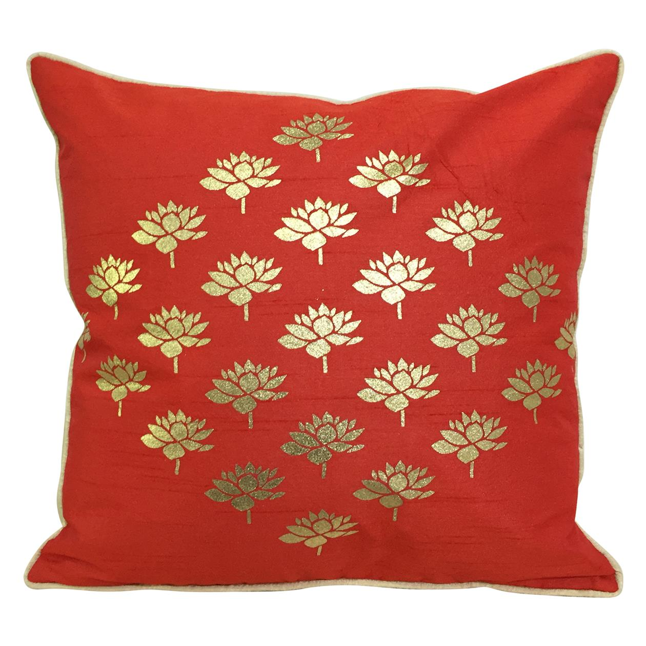 Double Sided Red Gold Multi Lotus Cushion Cover