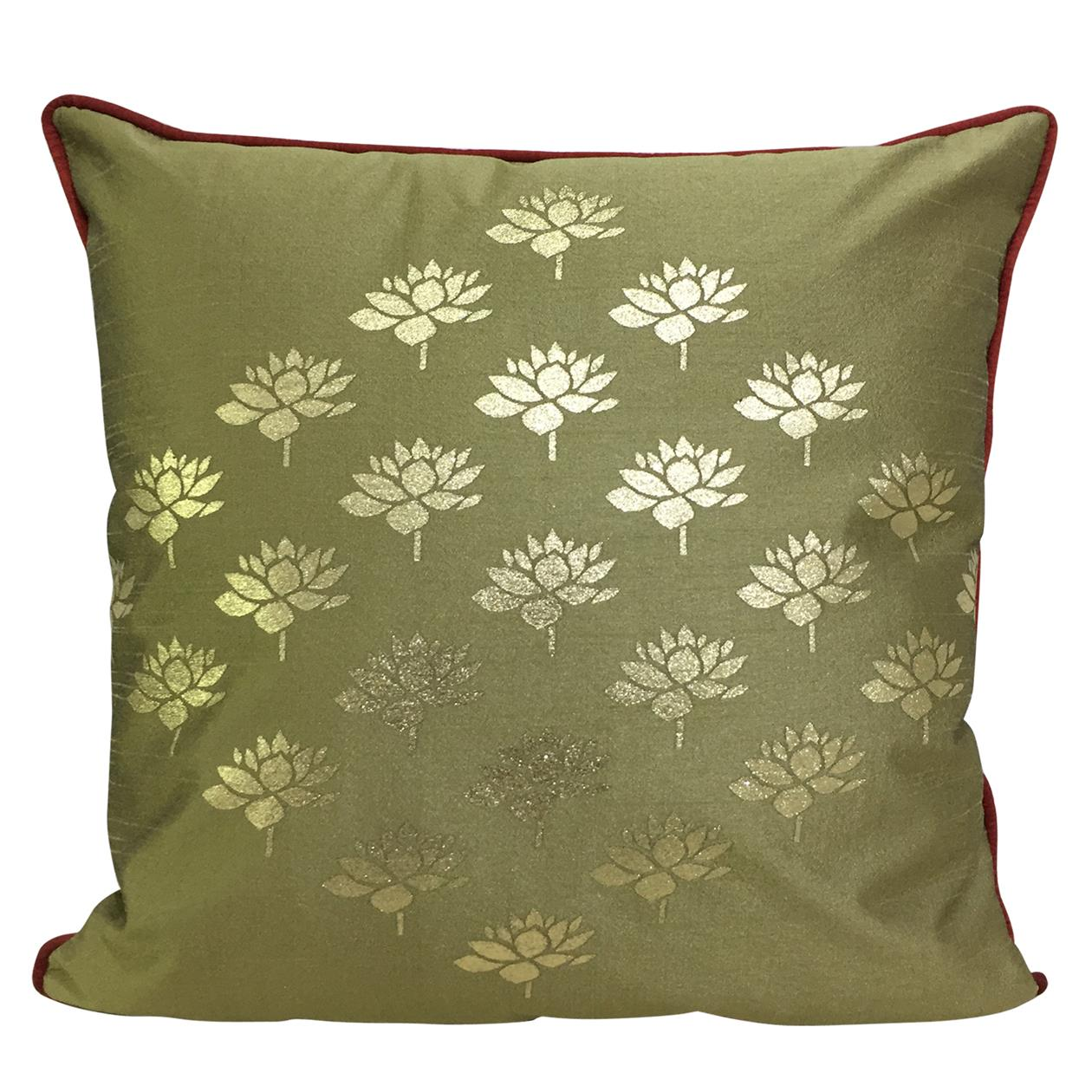 Double Sided Caramel Gold Multi Lotus Cushion Cover