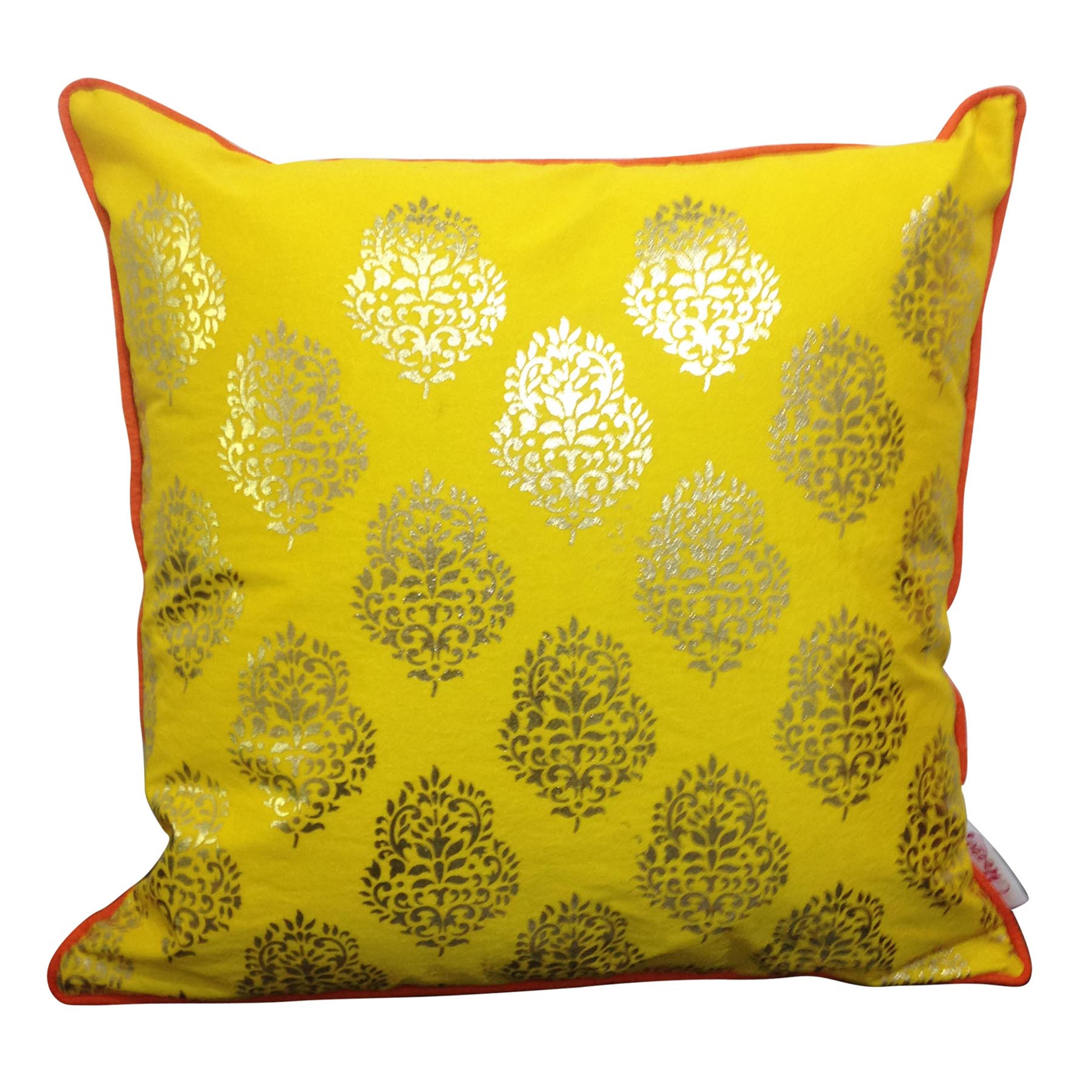 Double Sided Yellow Gold Motif Cushion Cover