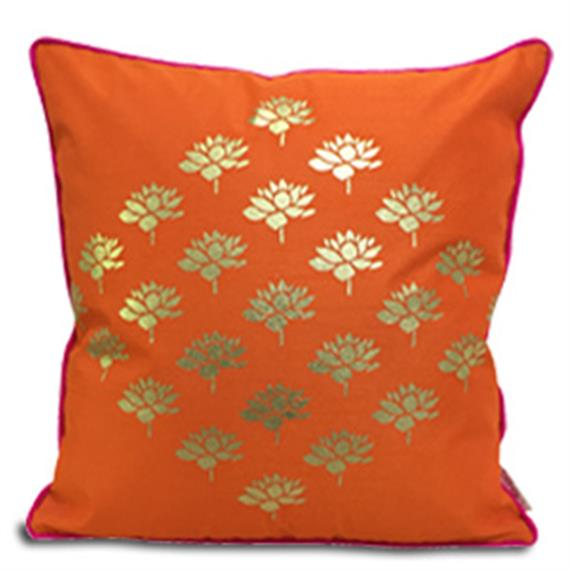 Double Sided Orange Gold Multi Lotus Cushion Cover