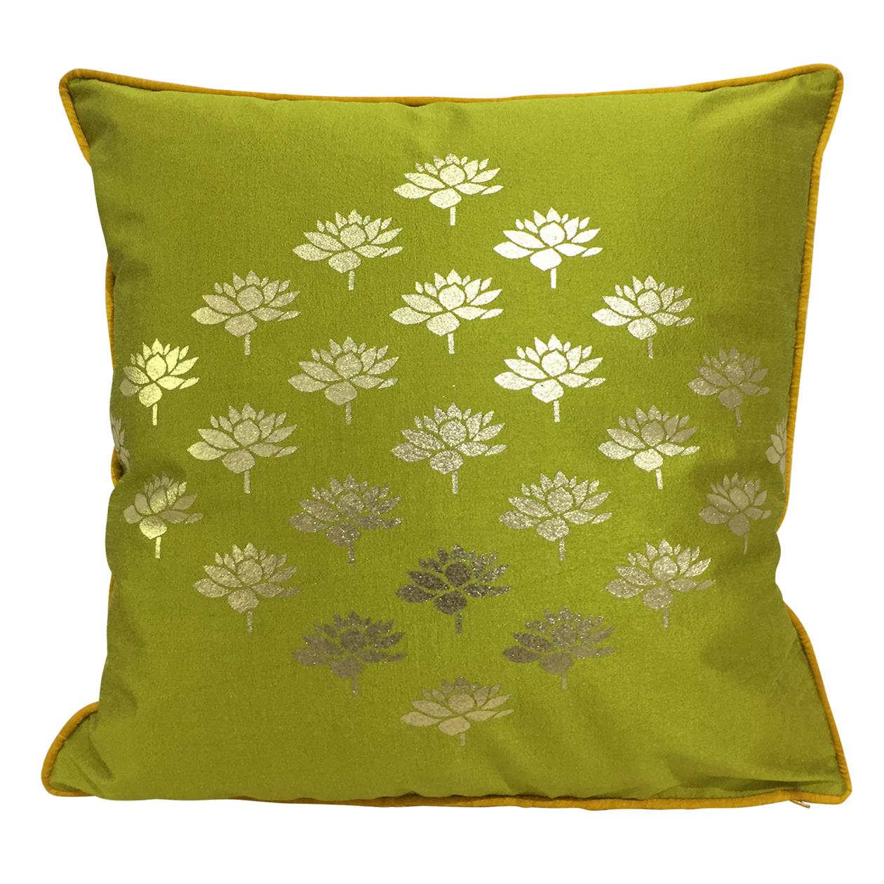 Double Sided Olive Gold Multi Lotus Cushion Cover