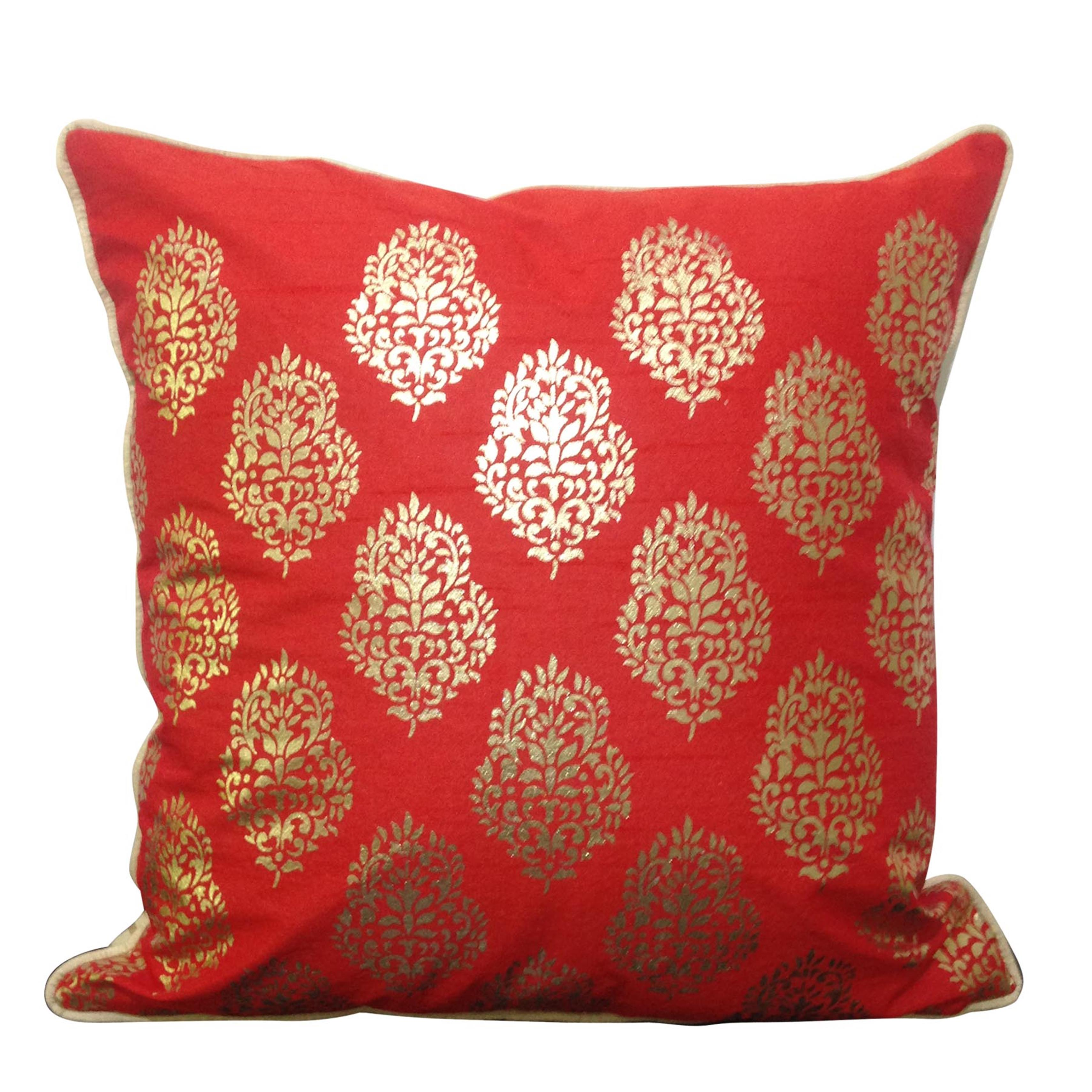 Double Sided Red Gold Motif Cushion Cover