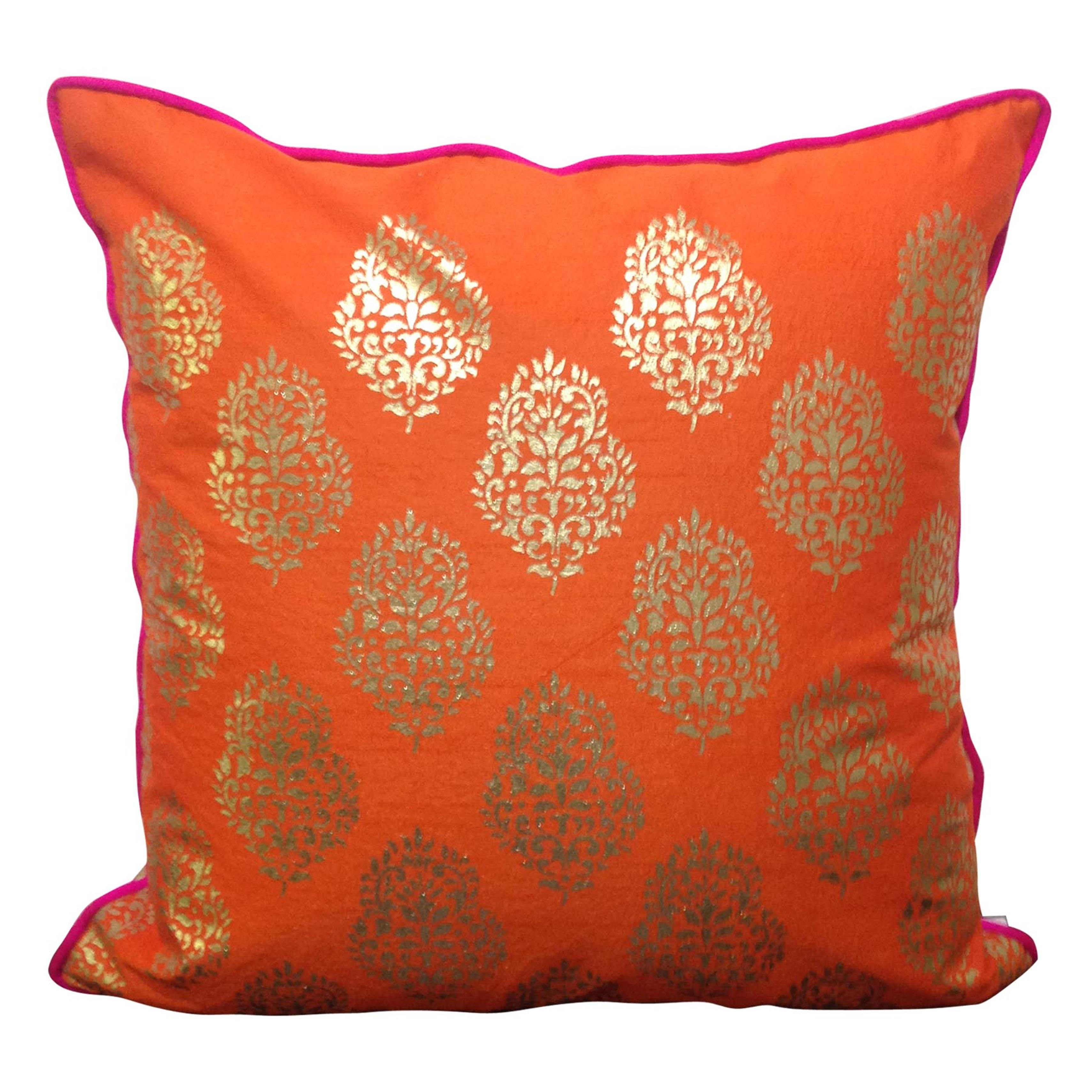 Double Sided Orange Gold Motif Cushion Cover