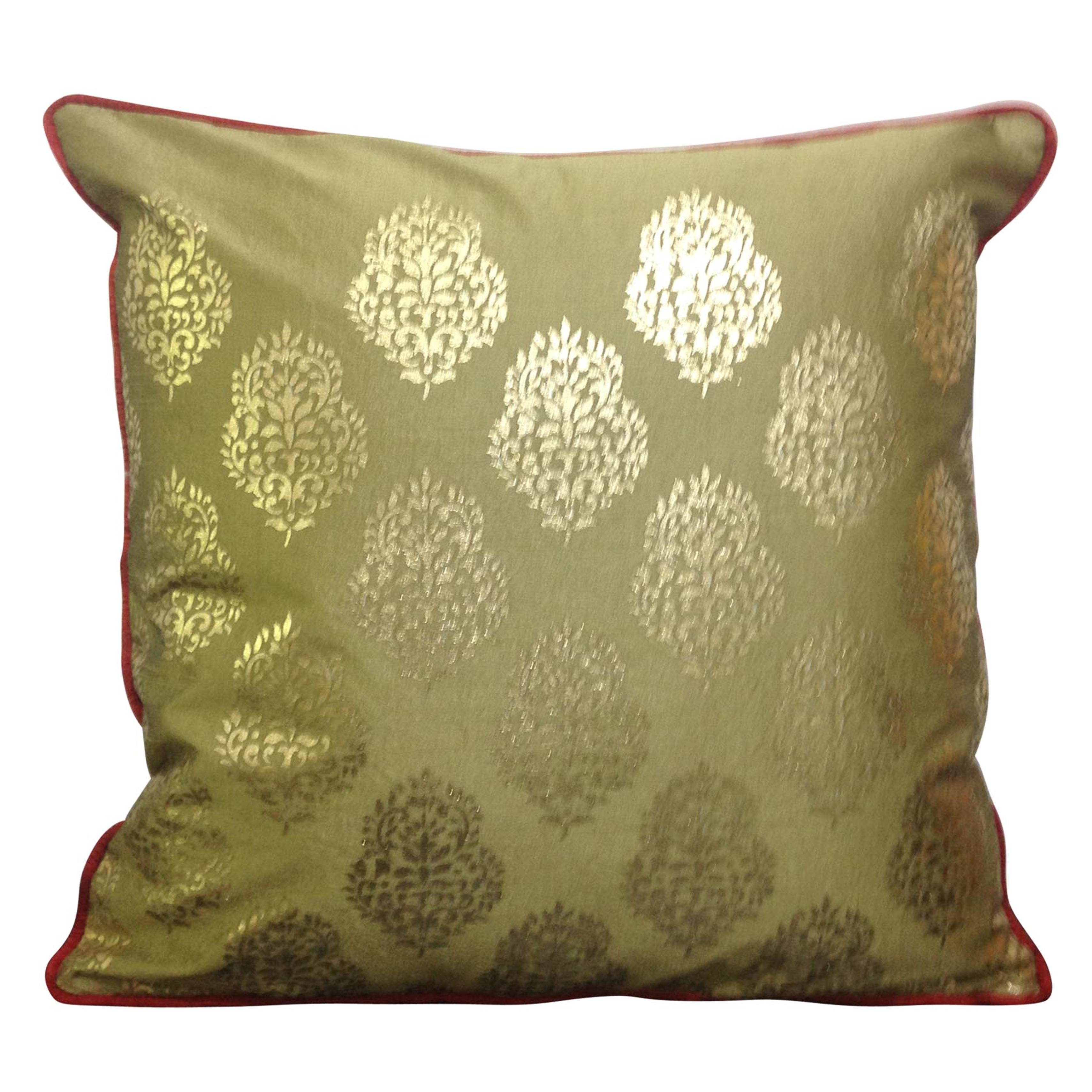 Double Sided Caramel Gold Motif Cushion Cover