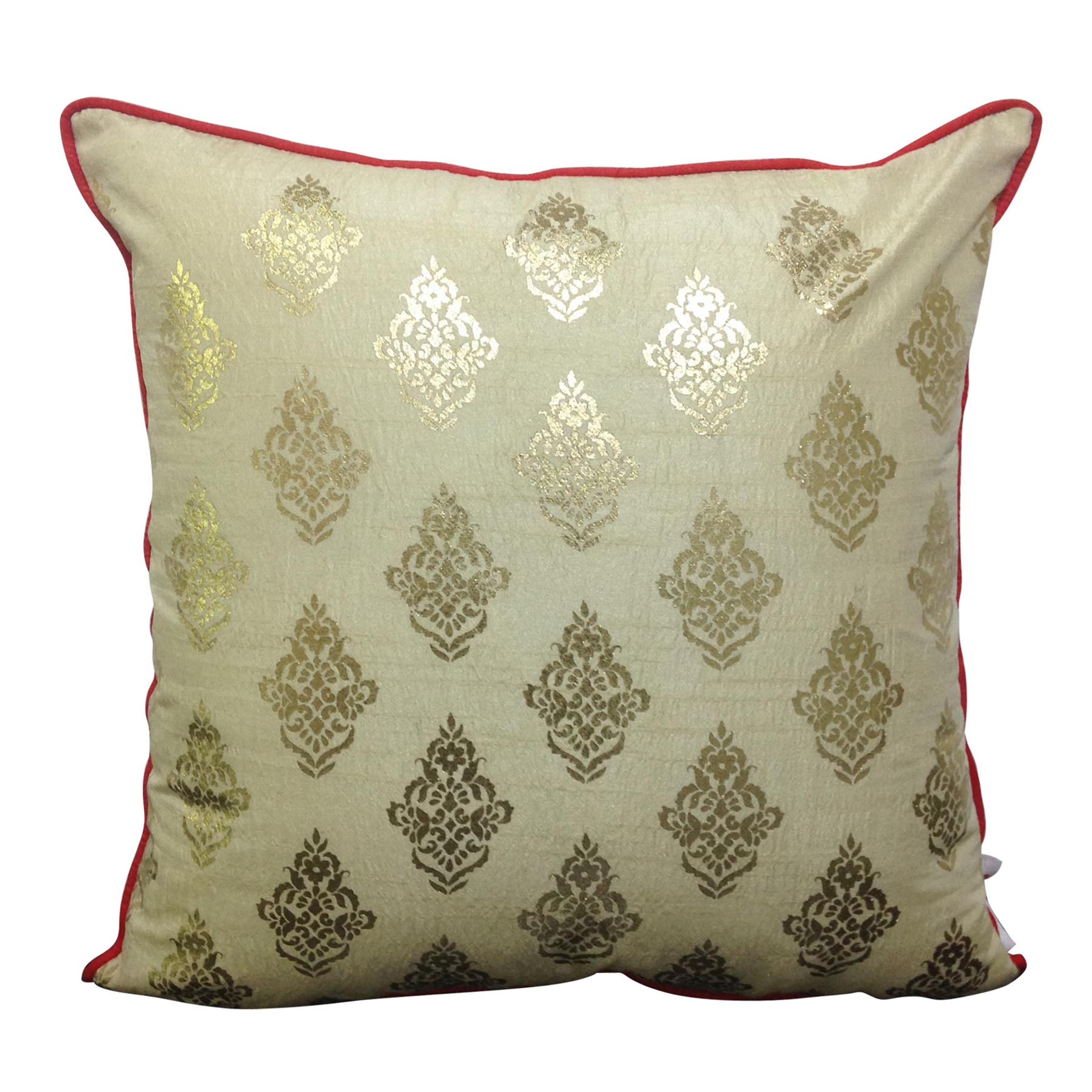 Double Sided Cream Gold Buti Cushion Cover