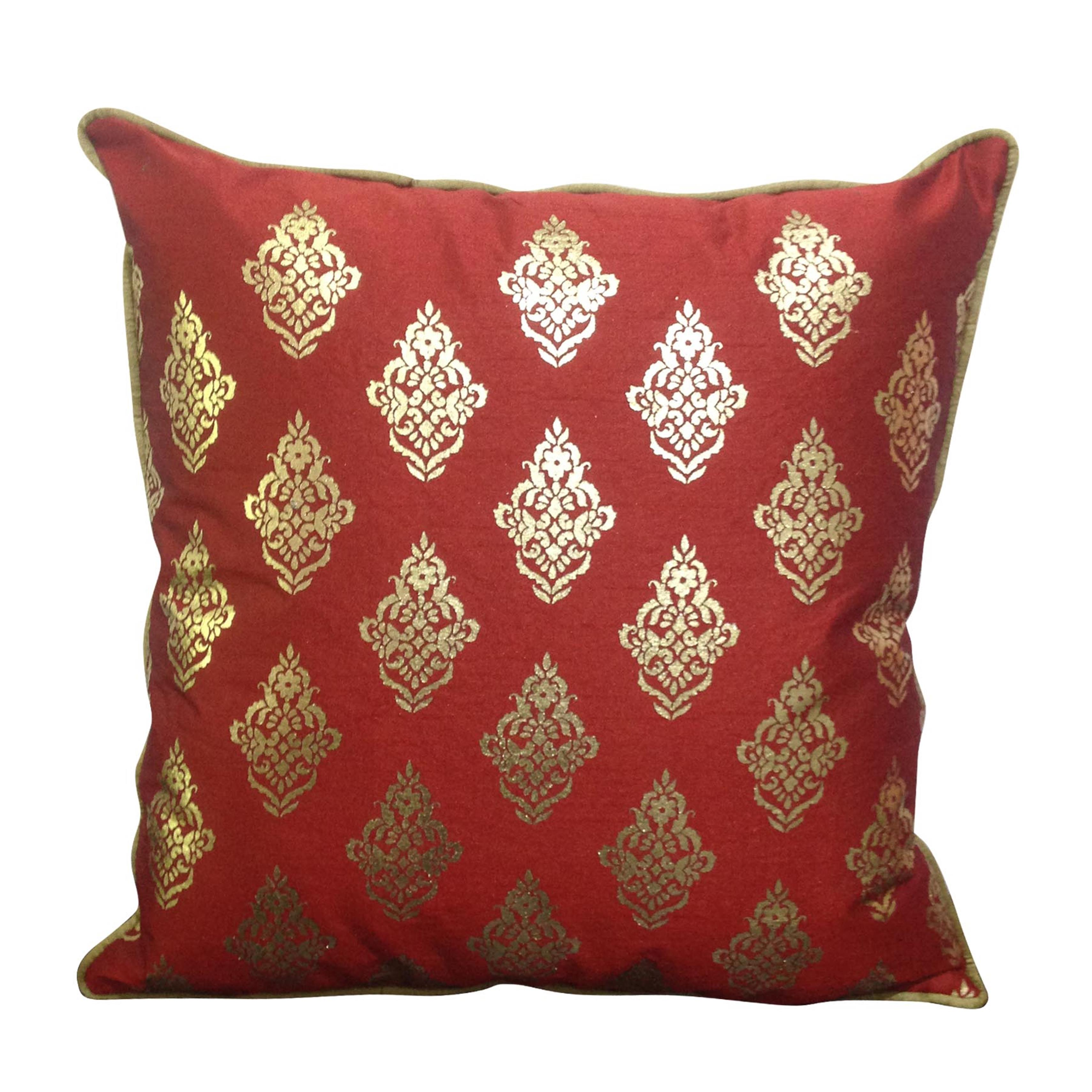 Double Sided Maroon Gold Buti Cushion Cover