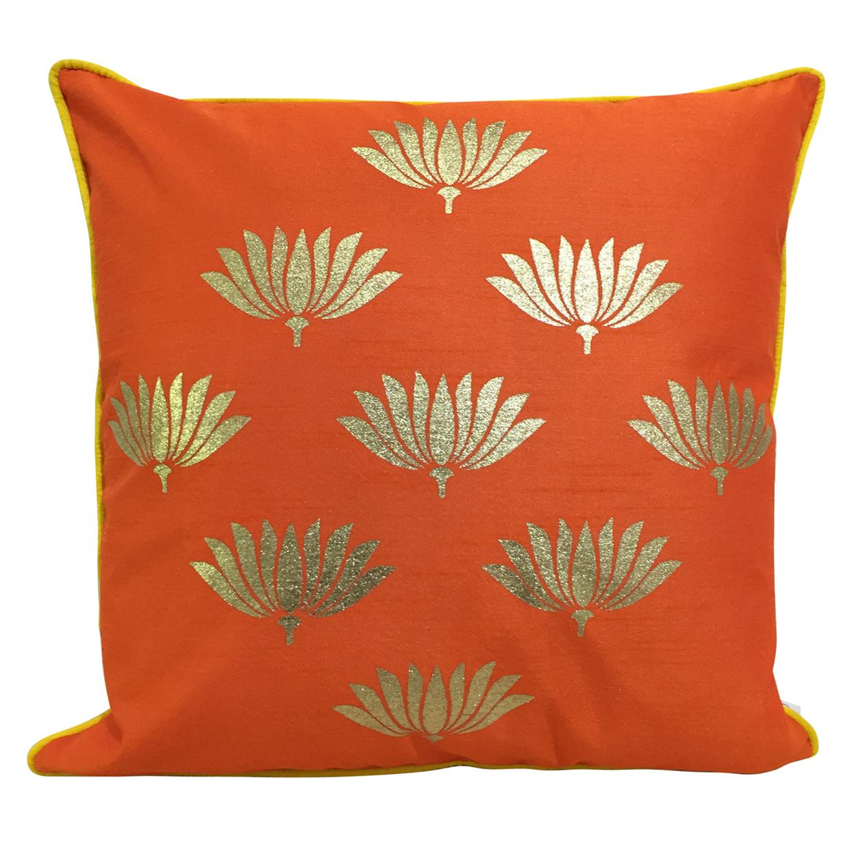 Double Sided Orange Gold Lotus Cushion Cover