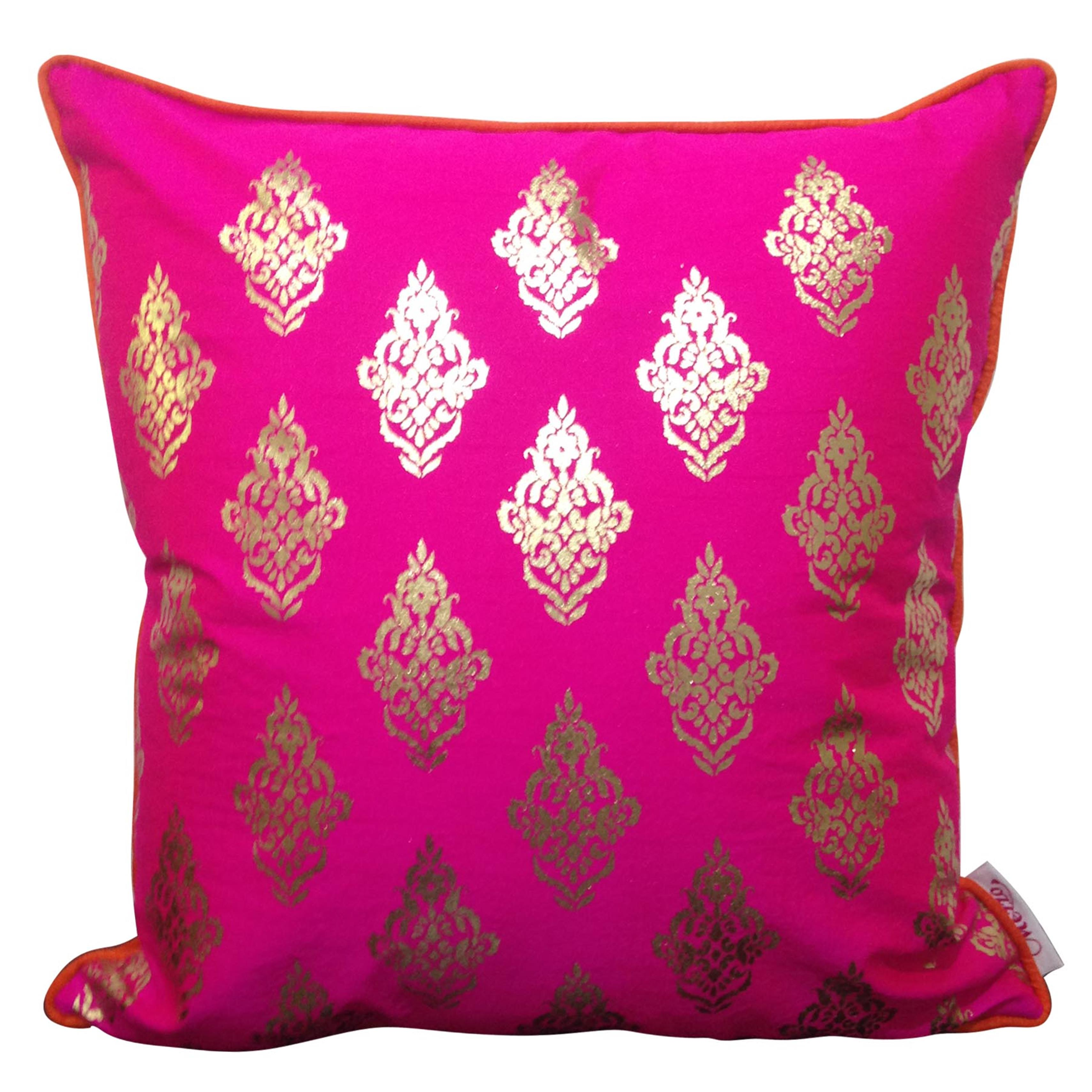Double Sided Pink Gold Buti Cushion Cover