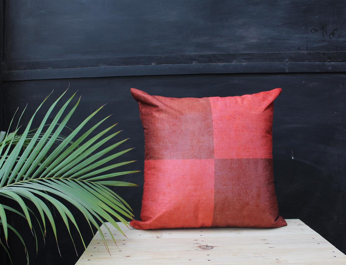 Maroon Grid Cushion cover