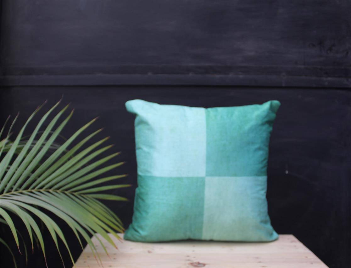 Teal Green Grid Cushion Cover