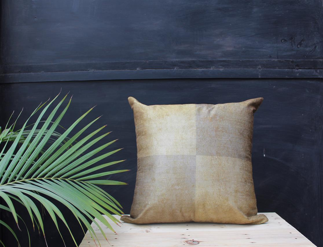 Olive Grid cushion Cover