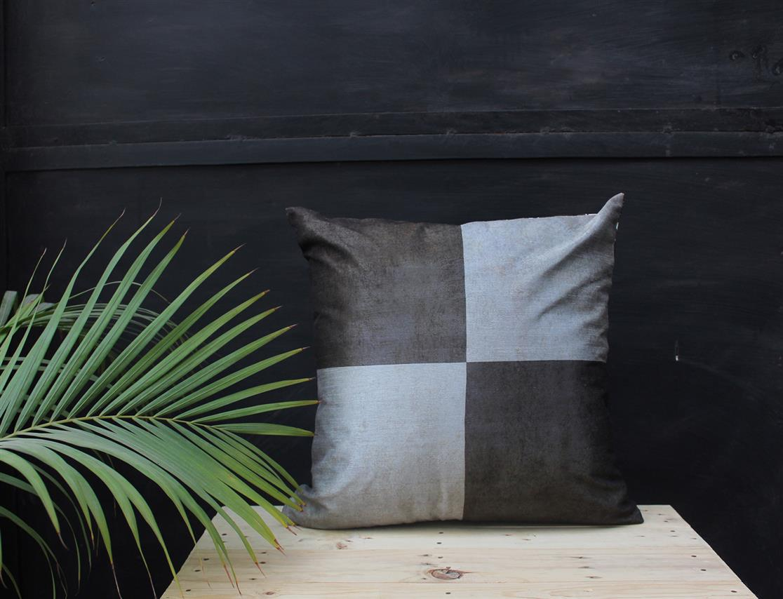 Black grid cushion cover