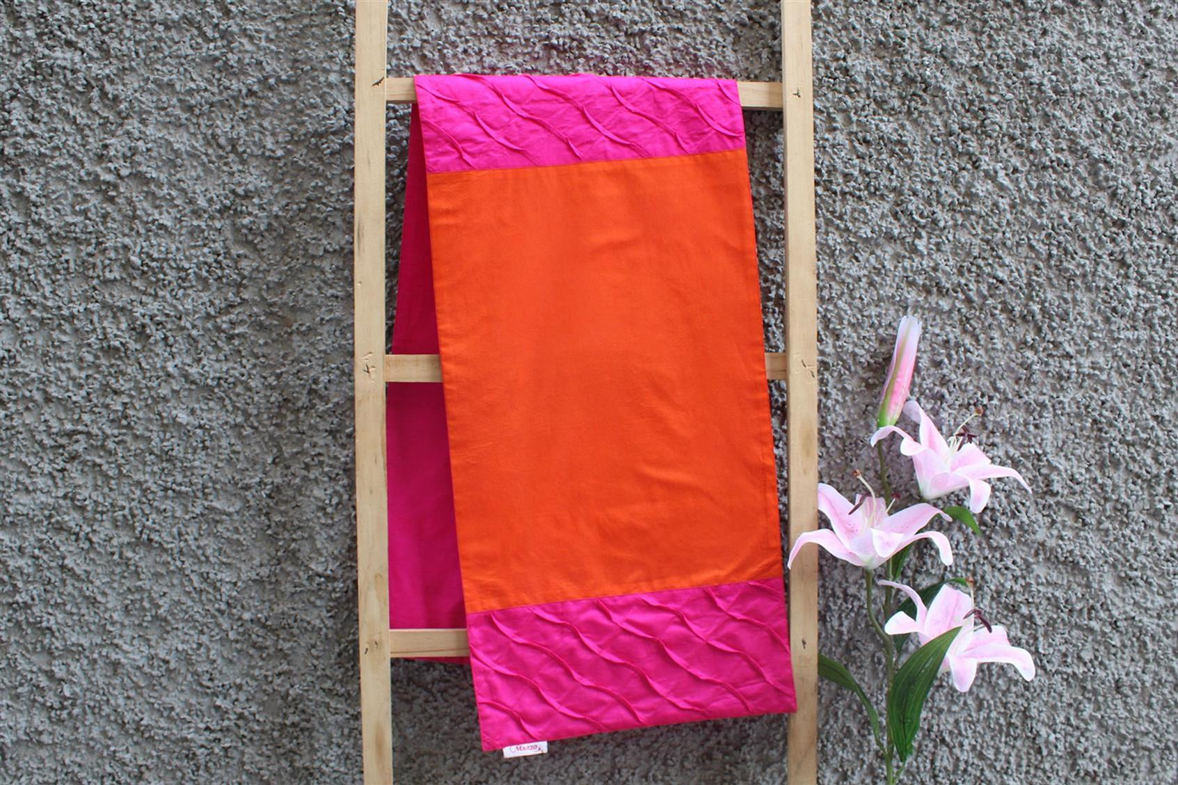 Orange-Pink Pleated Runner