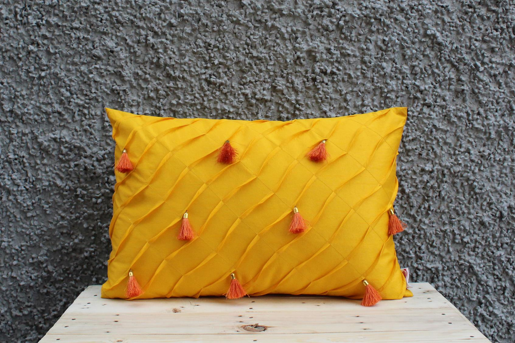 Yellow Tassel Cushion Cover