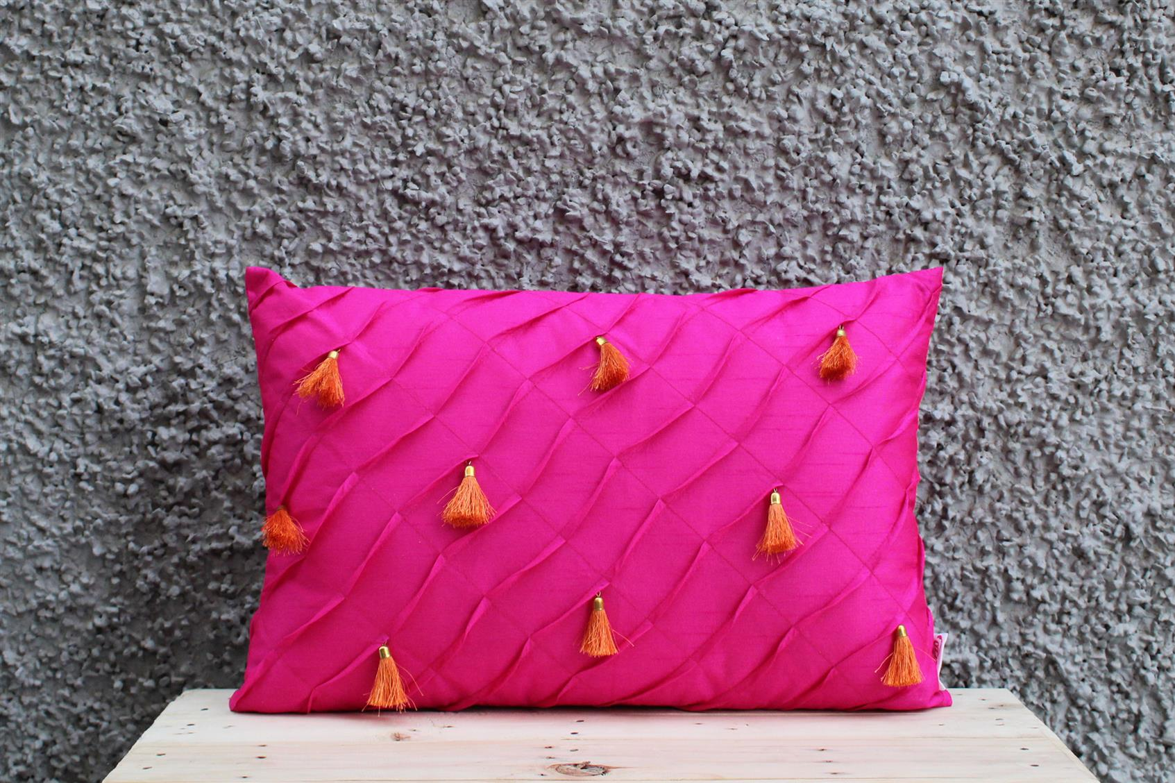 Pink Tassel Cushion Cover