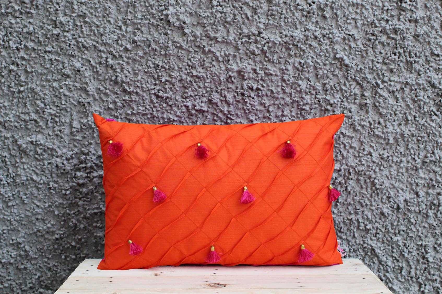 Orange Tassel Cushion Cover