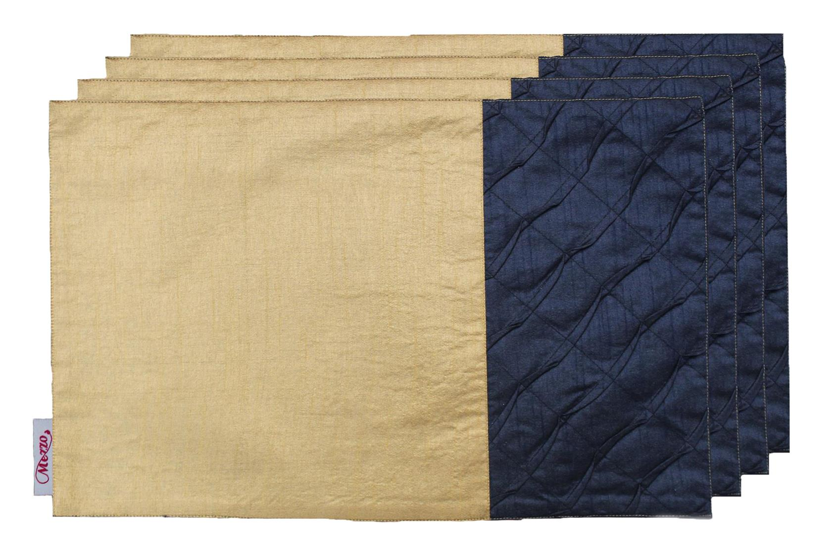 Caramel-Navy Pleated Placemat (Set of 4)