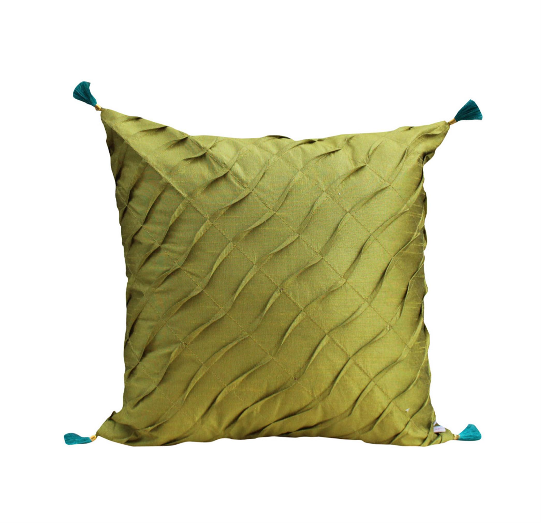 Olive Pleated Cushion Cover
