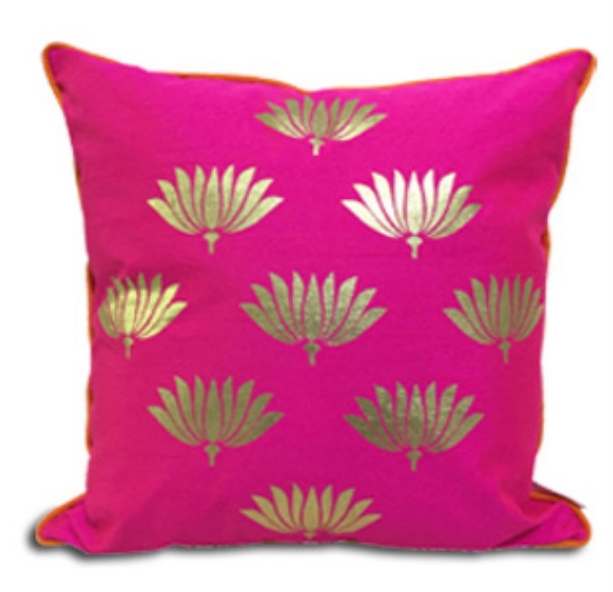 Double Sided Pink Gold Lotus Cushion Cover