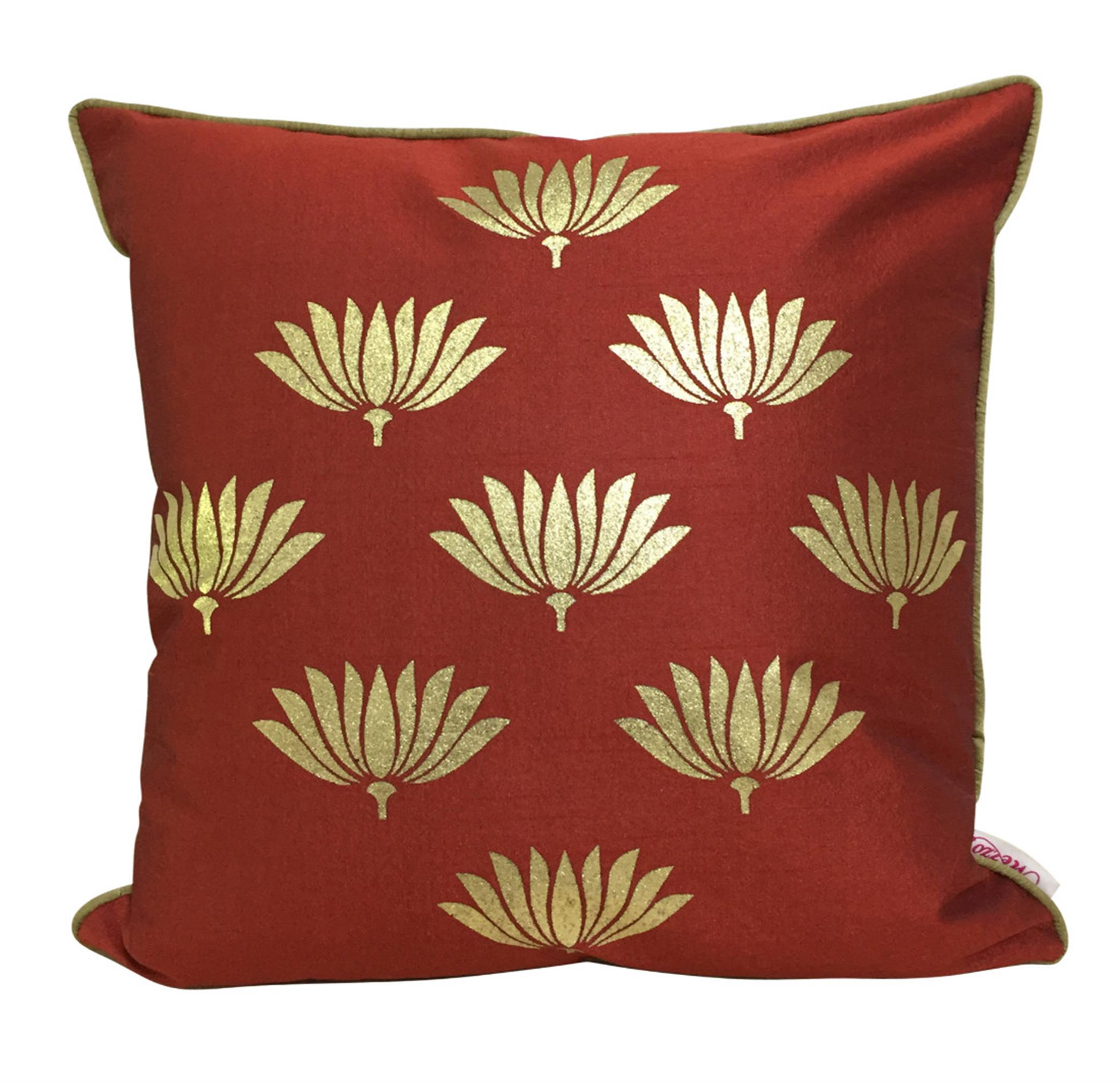 Double Sided Maroon Gold Lotus Cushion Cover