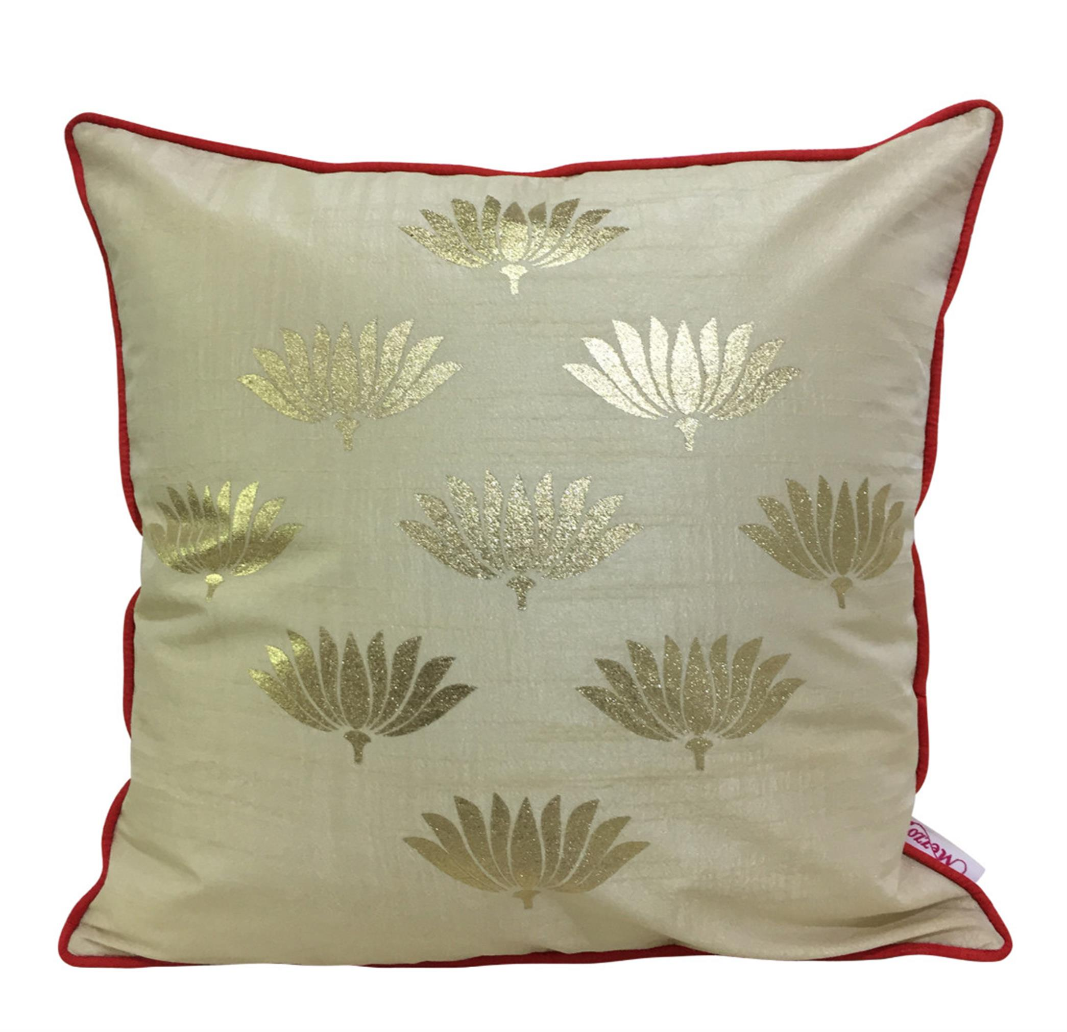 Double Sided Cream Gold Lotus Cushion Cover